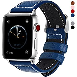 Cuero Correa, 7 Colores Correa Compatible Apple Watch/iWatch Series 3, Series 2, Series 1, 38mm, 42mm, Azul Oscuro 42mm