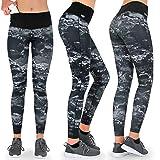 Formbelt® Damen Laufhose mit Tasche lang - Leggins Stretch-Hose hüfttasche für Smartphone iPhone Handy Schlüssel (Marmor, XS)