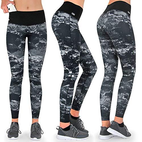 Formbelt® Damen Laufhose mit Tasche lang - Leggins Stretch-Hose hüfttasche für Smartphone iPhone Handy Schlüssel (Marmor, M)