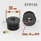 ajile - 1 pieza - Contera con rosca M10 para tubo redondo diametro EXTERNO 30 mm - NEGRO - EFR130