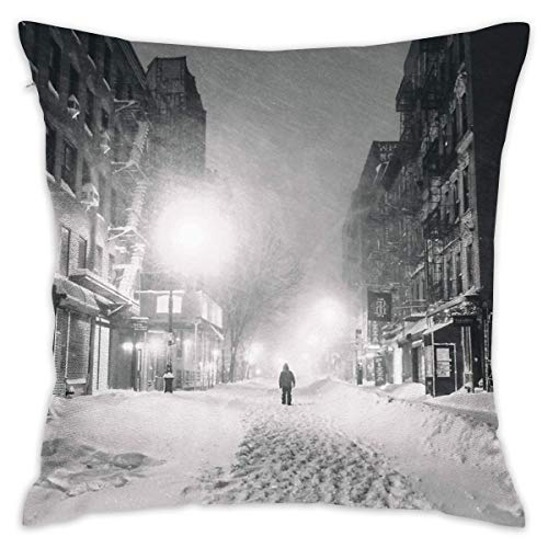 KLYDH Blizzard In New York City Home Decorative Throw Pillow Case Cushion Cover for Gift Home Couch Bed Car,Cover Size:16 x 16 Inch(40cm x 40cm)