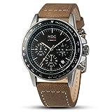 MDC Herren Analog Quarzwerk Armbanduhr Chronograph Outdoor 24 Stunden Datum PU Leder Band