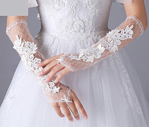 KHSKX Neue Braut Hochzeitskleid Weißer Gaze Handschuhe Lange Spitzen Fingerless Handschuhe Aus...