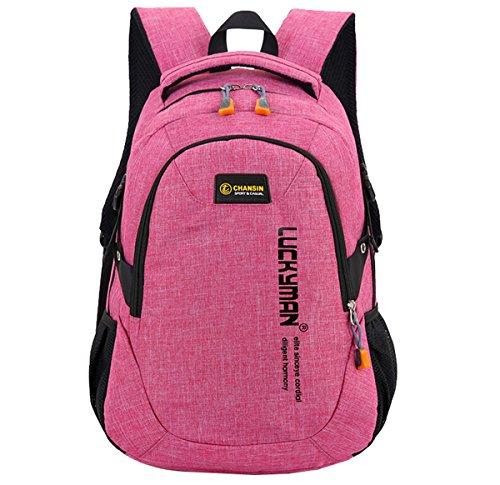 Super Modern Unisex-Schulrucksack aus Nylon, Laptoptasche für Teenager, ob Mädchen oder Jungen, cooler Sportrucksack, Reiserucksack für Männer und Frauen Größe L rose