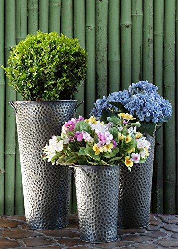 Set di 3 French stile benna fioriere con manico rustico