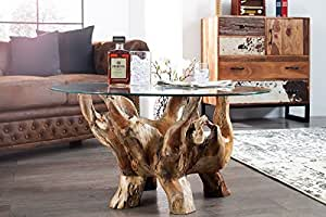 DuNord Design Couchtisch Glastisch Treibholz Tisch rund