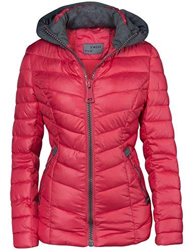 Damen STEPP Jacke Winter ÜBERGANGSJACKE Herbstjacke KURZ Kapuze Skijacke, Farbe:Rosa;Größe:S