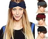 Odosalii Damen Elastische Blume Gedruckt Stirnbänder Weich Retro Turban Verknotet Haarband Kopfbedeckung für Alltag Yoga Sport (A_Einfarbig Stirnbänder_D)
