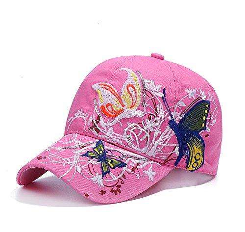 Qchomee Damen-Mädchen, Baumwolle mit verstellbarer embrioderied Baseball Cap Hip Hop Snapback Trucker Hat Travel Sport Strand Sonnenschutz Hut-Kosmetik -, rose, Children recommend age 3-8Years Hip Hop Trucker Hats
