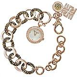 Ricarda M. Damen Bettelarmbanduhr + Armband Damenuhr Uhr Rosé Gold Tigerlook 3 in 1 Set