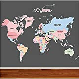 Adesivo Da Parete,Fai Da Te Art Color Mappa Del Mondo Wall Sticker Paese Mappa Del Mondo Percorso Di Viaggio Soggiorno Video Wall Studio Studio Decorazioni Per La Casa Funzione Regalo 90X60Cm