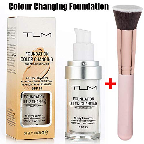 TLM Foundation Color Changing,TLM Concealer Cover, 30ml Concealer -Abdeckung Flawless Farbwechsel Warmer Hautton Foundation