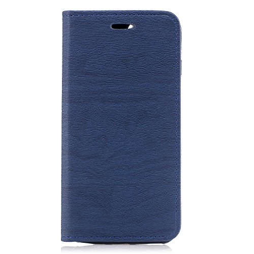 Hülle für Apple iPhone 7 Plus / 8 Plus , IJIA Mode Elegant Rein Schwarz Magnetisch Flip Case Leder Cover PU Lederhülle Schutzhülle Ledertasche mit Zusatzfunktionen Card Slot Schale Cover Book Style De Blue
