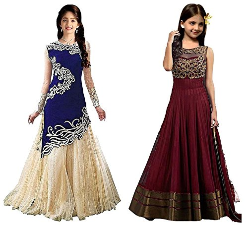 Market Magic World Girl's Blue & Maroon Velvet, Net Semi Stitched Combo Pack lehenga Choli, Salwar Suit, Gown (Kids Wear_Free Size_8-12 Year age)  available at amazon for Rs.799
