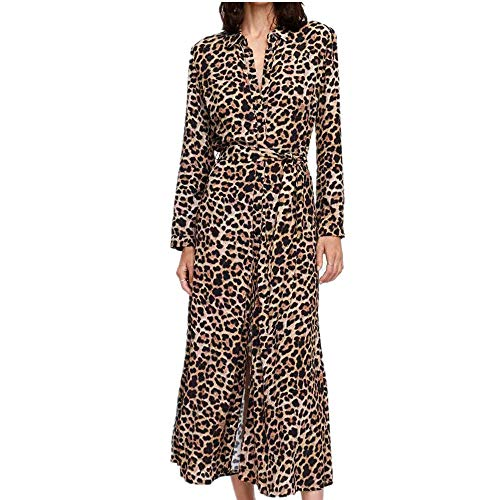 Kleider Damen, Cooljun Frauen Herbst Winter Mode Sexy V-Ausschnitt Leopard Drucken Rüschen Saum...