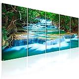 murando - Bilder Wassrfall 200x80 cm - Vlies Leinwandbild - 5 Teilig - Kunstdruck - Modern - Wandbilder XXL - Wanddekoration - Design - Wand Bild - Natur Landschaft c-B-0160-b-m