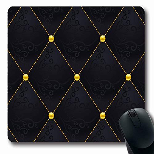 Luancrop Mauspads für Computer Diamond Pattern Black Quilted Abstract Quilt Gold Klassisches geometrisches Design rutschfeste längliche Gaming-Mauspad