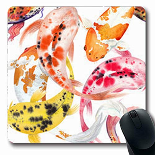 Gsgdae Mauspad Pink Aquarell Japanische Fische Karpfen Koi Wildlife Fundance Natur Teich Orange Asiatische antike längliche Form 20,32 x 24,1 cm rechteckig Gaming Mauspad Anti-Rutsch-Mauspad -