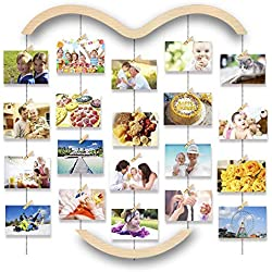 Uping Cadre Photo Mural Cadre Photo Pele Mele, avec Porte Photo Pinces et Corde