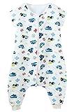 Feoya Baby Schlafsack mit Beinen Sommer ungefüttert Strampelsack Baumwolle Atmungsaktiv Strampelsack Reißverschluss Pyjama Jumpsuit