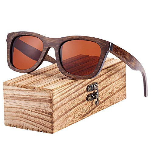 YLYZJH Platz Holz Sonnenbrillen Bambus Braun Farbe Holz Sonnenbrillen Männer Polarisierte Sonnenbrillen