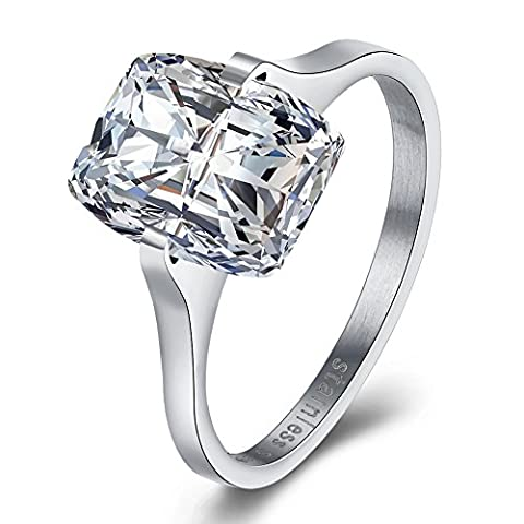 Women's Diamond Wedding Rings Proposal Promise Engagement Rings Anniversary Bridal Rings Bands Stainless Steel High Polished Finish, JST190-A-8-UK