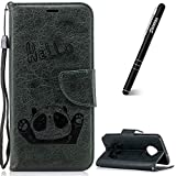 Moto G6 Case, Motorola Moto G6 Phone Case, Slynmax Magnetic Closure PU Leather Flip Wallet for Girls Color Changing Embossed HELLO Panda Design Grey Folio Cover with Credit Card Holders ID Slot Money Pouch Purse Stand Function Hand Strap Outdoor Protection Shockproof Shell for Motorola Moto G6 + 1 * Stylus Touch Pen