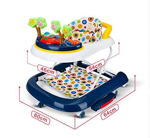 Niño Walker Baby Walker 7-18 meses Bebé Anti-rollo Multifuncional Music Walker U-plegable Walker Andadores de niños plegables ( Color : B )