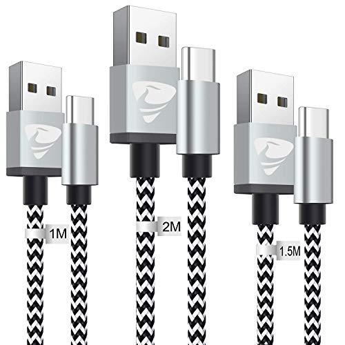 Cavo USB C [3 Pezzi /1M+1.5M+2M] Cavo Tipo C Nylon Intrecciata Rapida Ricarica Caricabatterie USB Type C per Samsung S8 S9 S10 A20 A30 A40 A50 A70,Sony Xperia,Nintendo Switch,Huawei P30 P20,Pixel