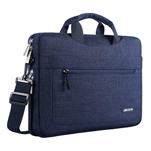 MOSISO Umhängetasche/Laptoptasche Kompatibel 11,6-13,3 Zoll MacBook Air, MacBook Pro, Notebook Computer Polyester Laptop Schultertasche mit Verstellbarer Tiefe an der Unterseite, Navy Blau