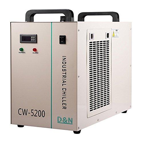 Autovictoria Water Chiller 6L Enfriador de Agua Industrial 10L / min Enfriador de Agua Enfriador 1400W Enfriador de Refrigeración por Agua 130 / 150W Tubo de Vidrio CO2(CW5200)