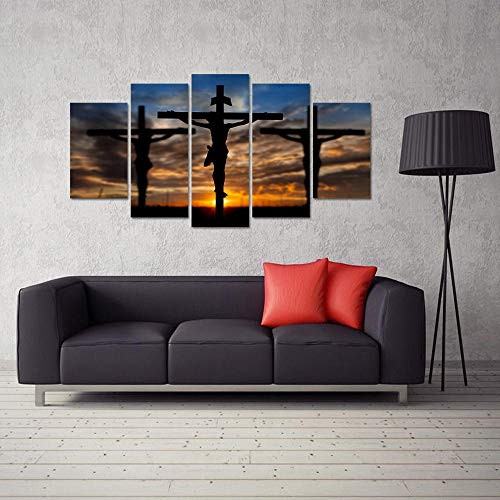 xvhsx Leinwanddrucke Kreuze Bei Sonnenuntergang 5 Panel Wandkunst Christus Religion Bilder Hd Leinwanddrucke Großes Gemälde Für Wohnzimmer -