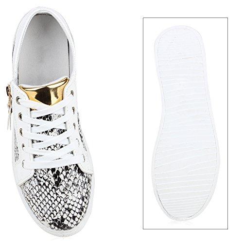 Damen Sneakers Snake Animal Print Schuhe Lederoptik Schnürer Weiss Snake