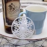 XINGRUI Pads 10 PCS Buon Natale Decorazioni Fiocco di Neve Coppa Pad Tessuto Non Tessuto Dinner Party Dish Vassoio Coffee Pads (Bianco) (Colore : Bianca)