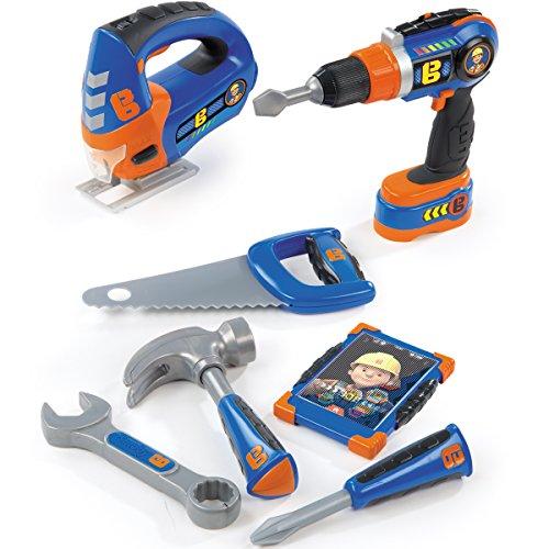 Preisvergleich Produktbild Bob der Baumeister Werkzeugset mit Akkuschrauber, Stichsäge, weiteres Werkzeug - Kinder Werkbank-Werkzeuge Handwerker Spielzeug Bohrer Stichsäge Hammer