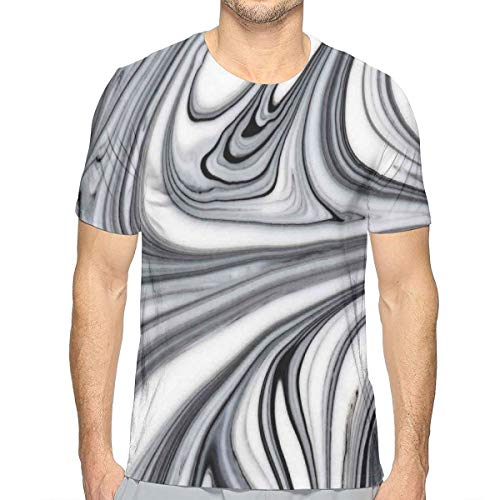 3D Printed T Shirts,Mix of White and Black Hallucinatory and Surreal Liquid Marble Figures Graphic Artwork M -