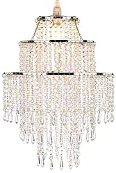 Waneway Large 3 Tiers Beads Pendant Shade, Ceiling Chandelier Lampshade with Acrylic Jewel Droplets, Beaded Lampshade with Chrome Frame and Clear Beads, Diameter 32 cm, Clear