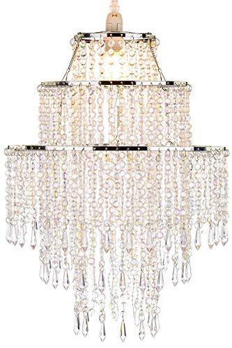 Waneway Großer 3 Stufiger Perlen Lampenschirm, Decken Kronleuchter Lampenschirm mit Acryl Juwelen Tropfen, Perlen Lampenschirm mit Chrom Rahmen und klaren Perlen, Durchmesser 32cm, Klar
