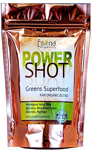 100 % PURE – Raw Organic Vegan – Power Shot Greens Superfood Blend – Spirulina, Chlorella, Wheat Grass, Blue-Green Algae, Kale, More! – 60 SERVINGS from Essona Organics, Powder – 180 gms. Order Now.