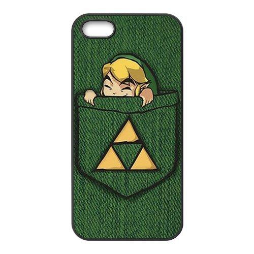 The Legend of Zelda Étui de protection en silicone et TPU Étui avec Screen Protector, Mobile Phone Case Back Cover pour Iphone 5S Blanc Noir for iPhone 55S (White/Black)
