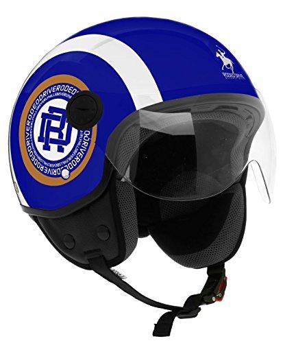 Rodeo Drive Casco Moto RD105N, Blu/Bianco, XS