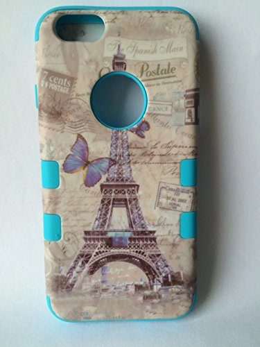 Iphone 6 Coque,Lantier Tour Eiffel Papillon [3 en 1 Neo Hybrid antichoc] Case Shield robuste robuste Heavy Duty caoutchouc TPU et dur PC Retour Housse de protection pour Apple Iphone 6 (4,7 pouces) (P Eiffel Tower Blue