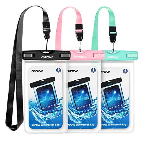 Mpow Wasserdichte Hülle, 3 Stück Wasserdichte Tasche, Handyhülle, Staubdichte Schutzhülle für iPhone X/XR/XS/XS MAX/8/7/6splus/Galaxy S9/S8/S7/S7edge Huawei P10/P8/P9 Huawei bis 5, 7 Zoll