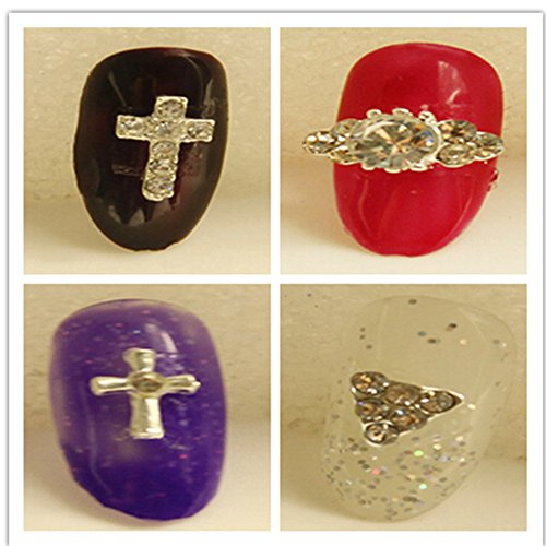 Evtech(tm) 12 PC Nail Sticker Strass cristal de diamant Gems Croix d'Argent Coeur Animal Love alliage 3D Fashion Style Nail Art Outil Carve Nail Sticker Décoration Sticker Glitter Tatoo (ne pas inclure le bout d'ongle)