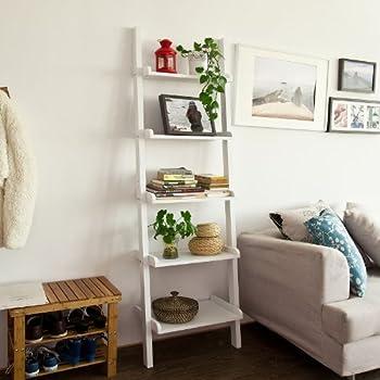 SoBuy Modern 5 Tiers Ladder Shelf Bookcase, Storage Display Shelving Wall  Shelf, White,