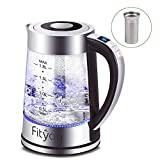 Electric Kettle, Fityou Glass Electric Kettle with Stainless Steel Filter & Lid Cordless