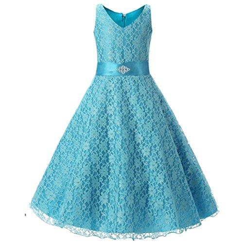 5-10 Jahr Kinder Spitzen Gaze Kleid, DoraMe Baby Mädchen ärmellose Prinzessin Formelle Kleid Länge Partei Hochzeit Brautjungfer Kleid (Blau, 5 - Baby-jungen Disney Halloween-kostüme Für