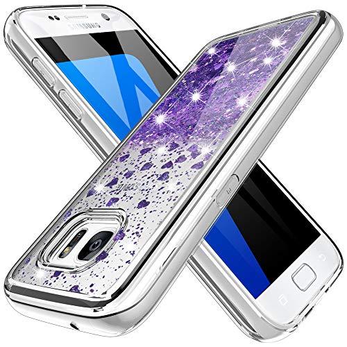 K&L Hülle für Samsung Galaxy S7, Bling Dynamisch Glitzer Kratzfest Silikon Schutzülle Schale Luxus handyschalen Shiny Cover für Samsung Galaxy S7 - Lila
