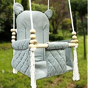 BlueKitty Schaukel für Kinder; Babyschaukel; Kinderschaukel mit Kissen; Schaukel für Haus und Garten; Schaukel aus Holz…
