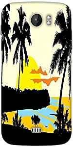 Snoogg Tropical Landscape Designer Protective Back Case Cover For Micromax A110
